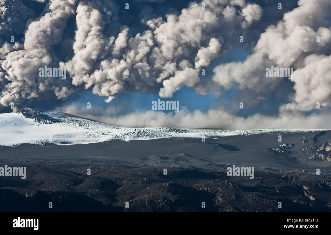 Ash cloud fallout from the Eyjafjallajokull eruption in Iceland - Stock Image