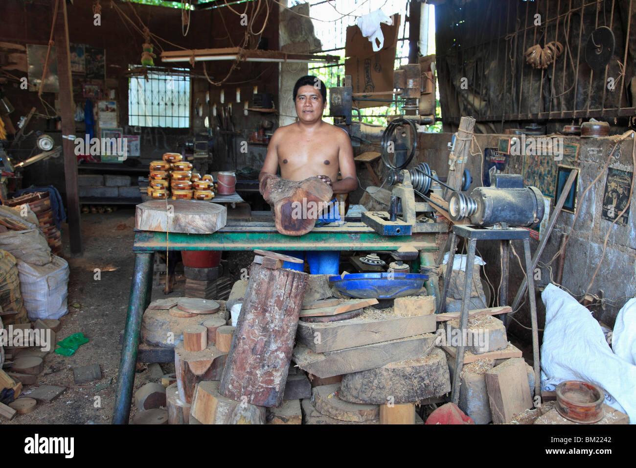 Wood Artisan, Masaya, Nicaragua, Central America - Stock Image