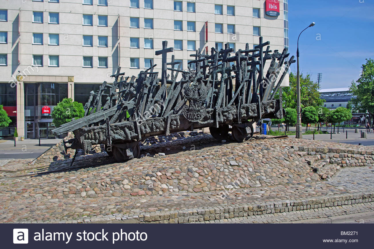 Monument to those Fallen and Murdered in the East Warsaw Poland Stock Photo