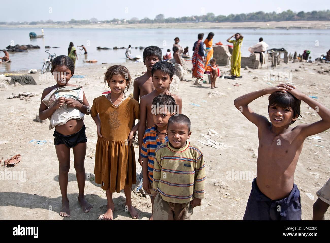 Indian kids. Ganges river. Varanasi. India - Stock Image