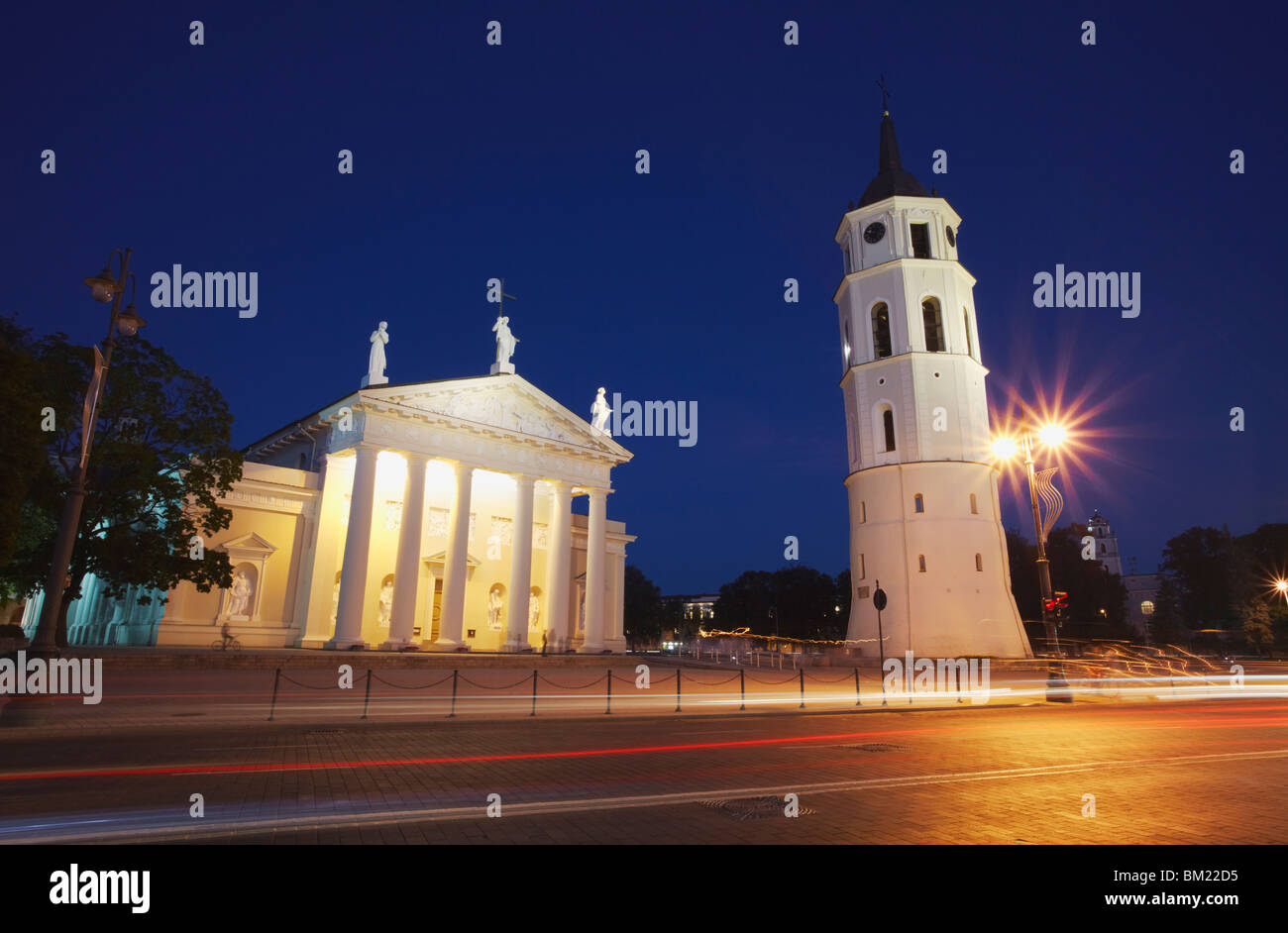 Vilnius Cathedral and Bell Tower at dusk, Vilnius, Lithuania, Baltic States, Europe - Stock Image