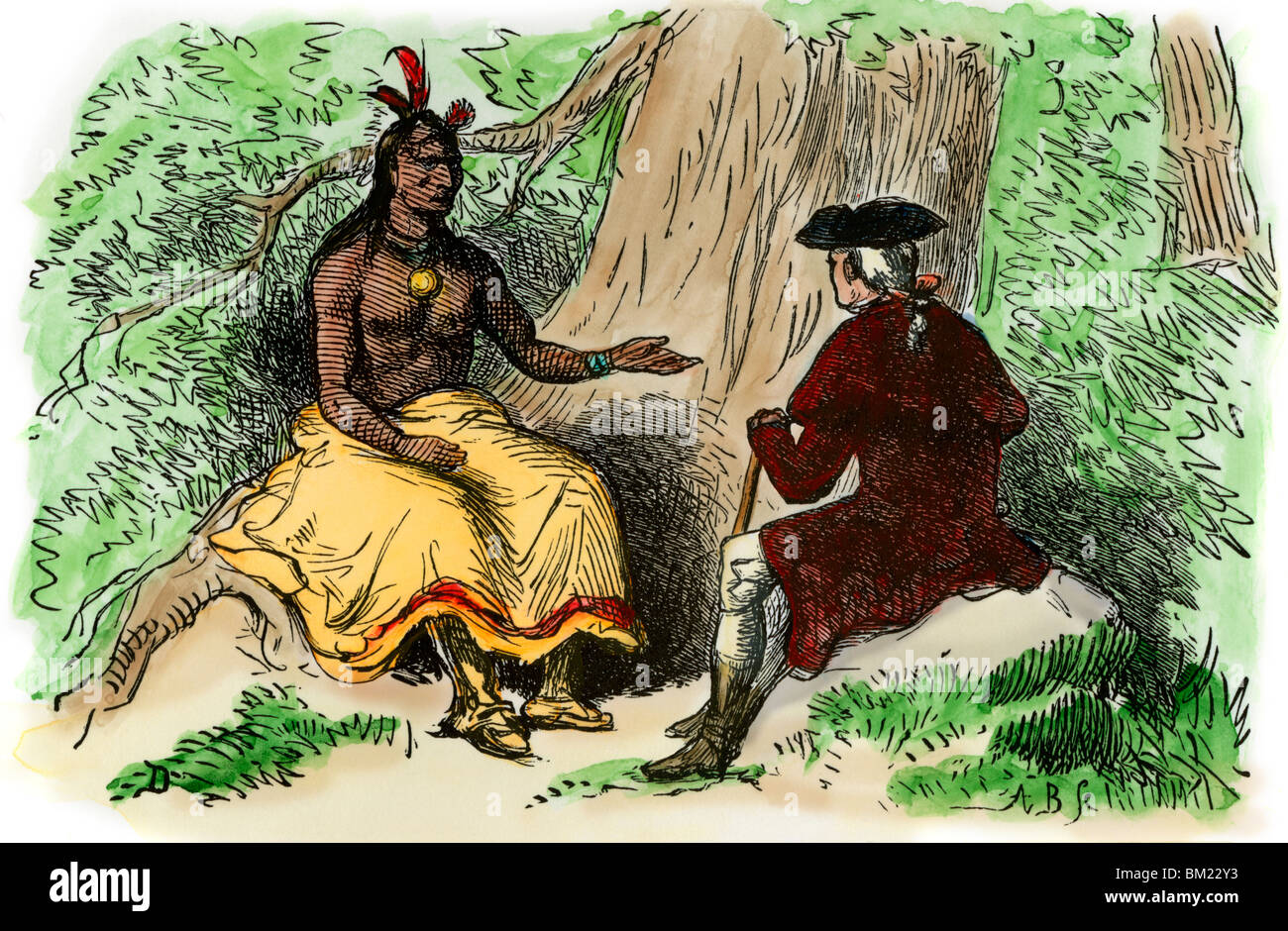 Mingo leader James Logan negotiating alliance with British officer, 1770s. Hand-colored woodcut - Stock Image