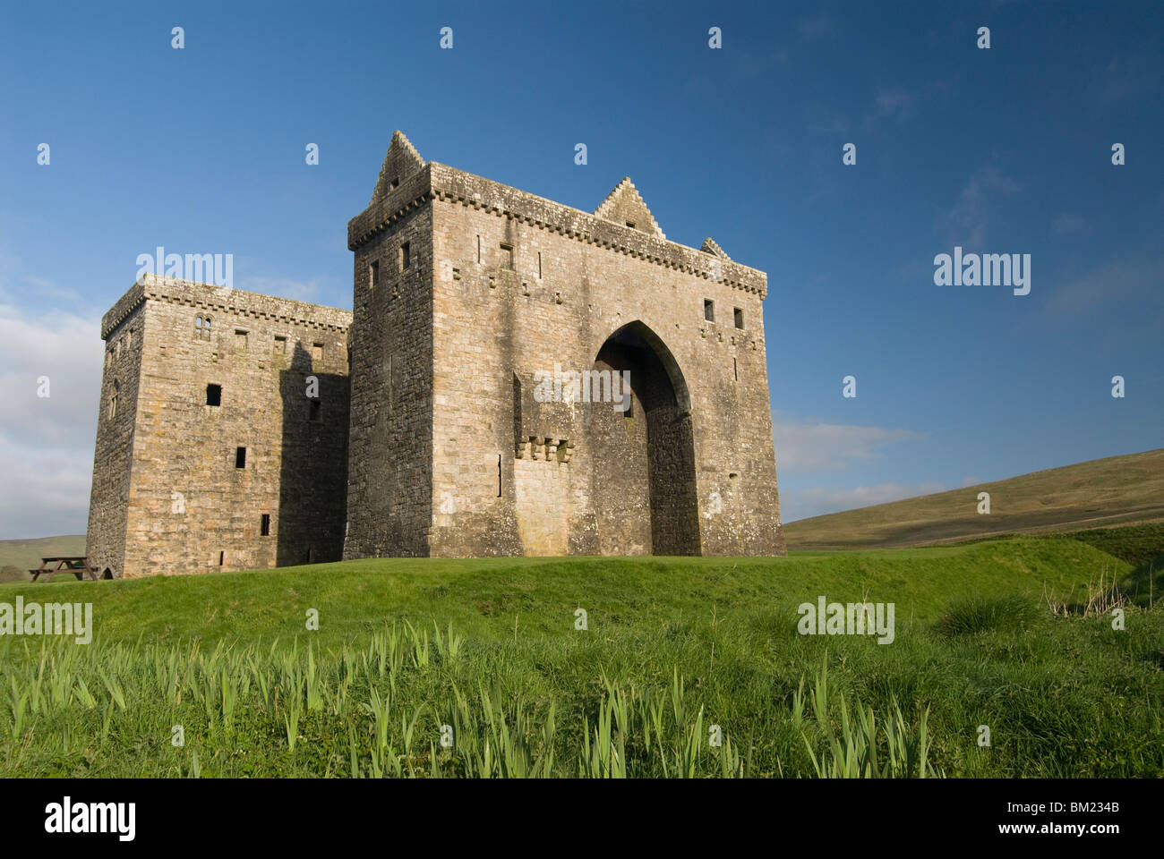 Hermitage Castle, northeast of Newcastleton, Scotland, United Kingdom, Europe - Stock Image