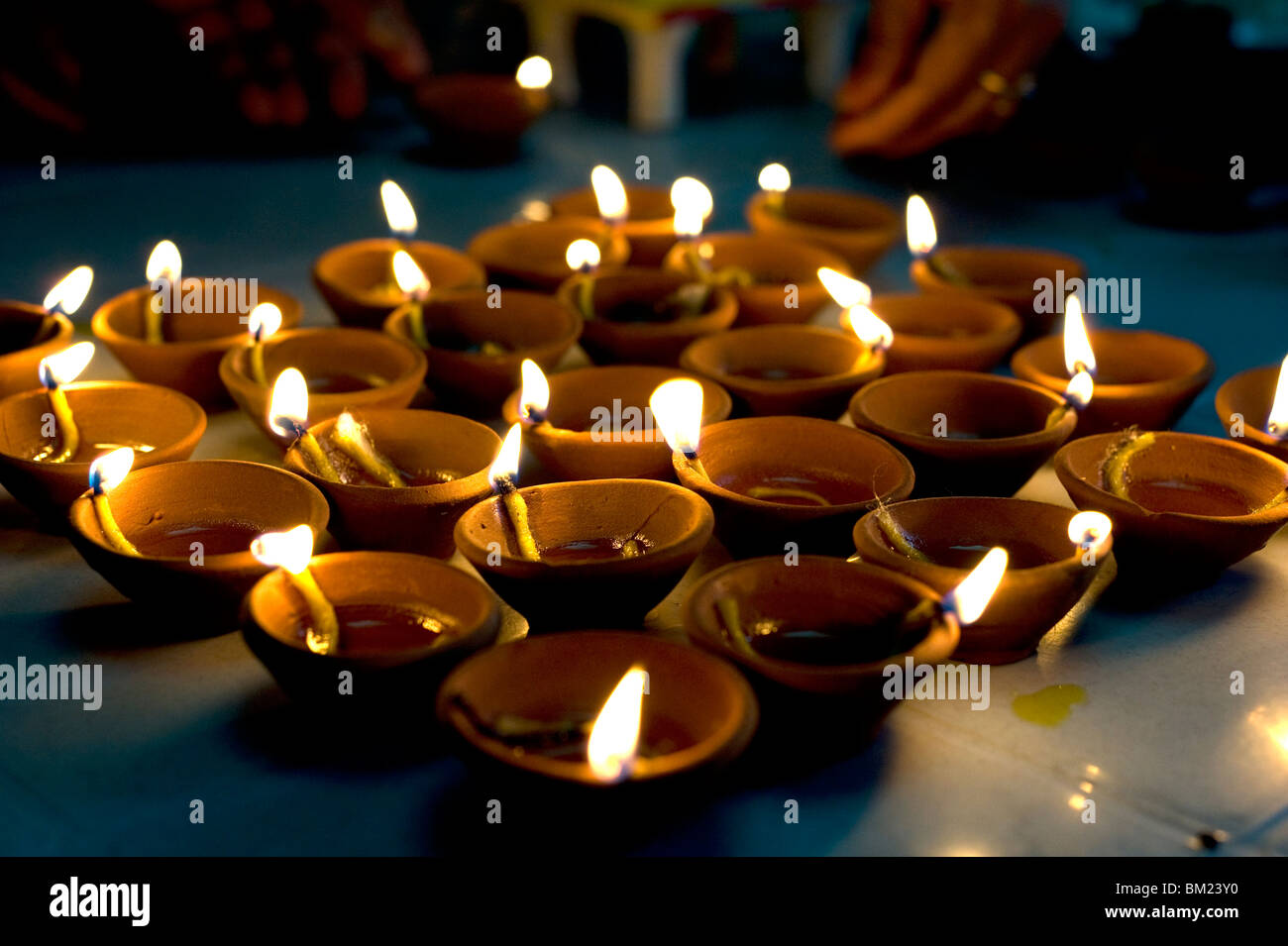 Deepak lights (oil and cotton wick candles) lit for domestic decoration to celebrate the Diwali festival, India - Stock Image