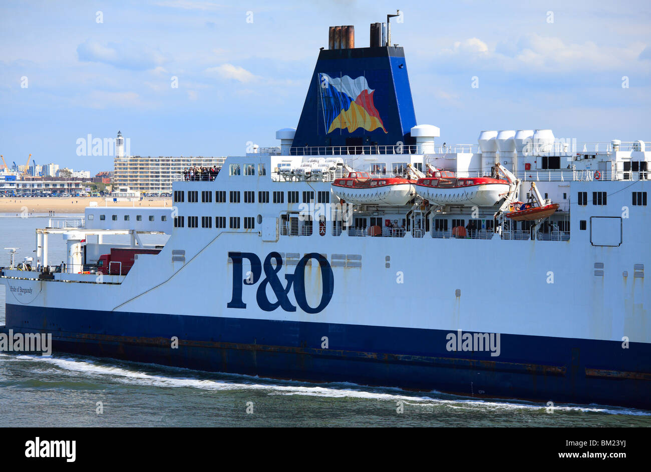P&O Ferries, Pride of Burgundy, leaving Calais. - Stock Image