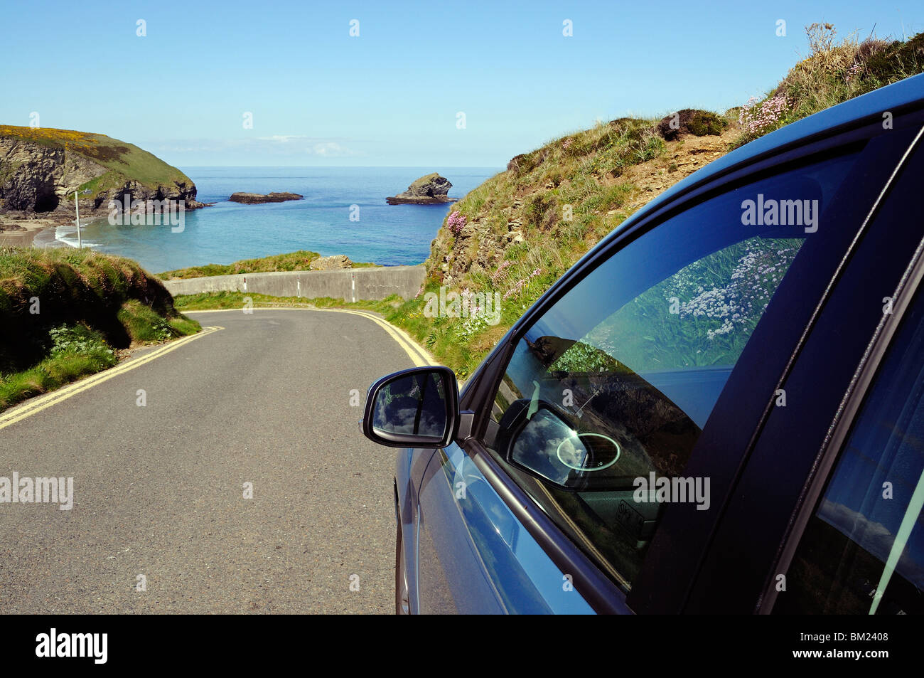 a car parked in a lay by near portreath in cornwall, uk - Stock Image