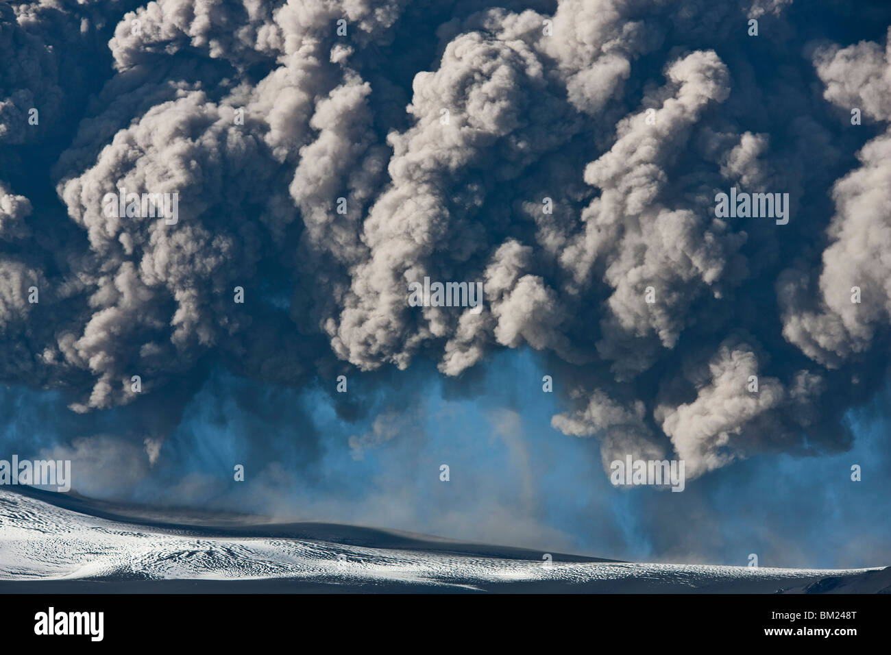 Ash cloud from the Eyjafjallajokull eruption in Iceland - Stock Image