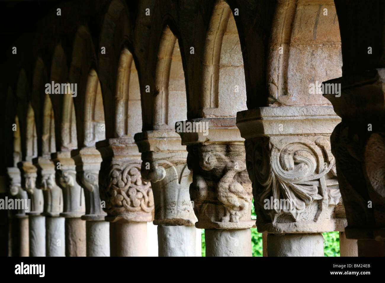 Santillana del Mar Collegiate Church cloister, Santillana del Mar, Cantabria, Spain, Europe - Stock Image