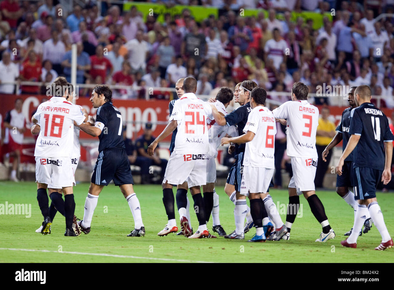 Sevilla and Real Madrid players quarreling, - Stock Image