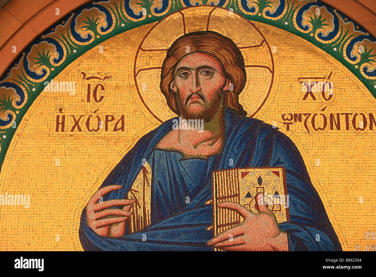 Greek Orthodox icon depicting Jesus Christ, Thessalonica, Macedonia, Greece, Europe - Stock Image