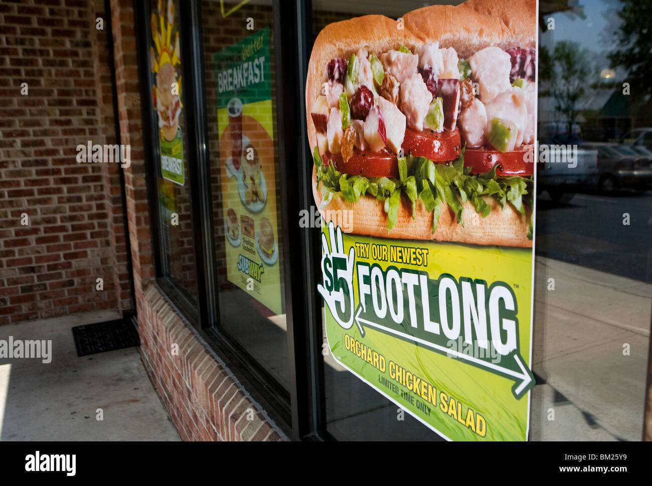 A Subway '$5 Footlong' sign.  - Stock Image