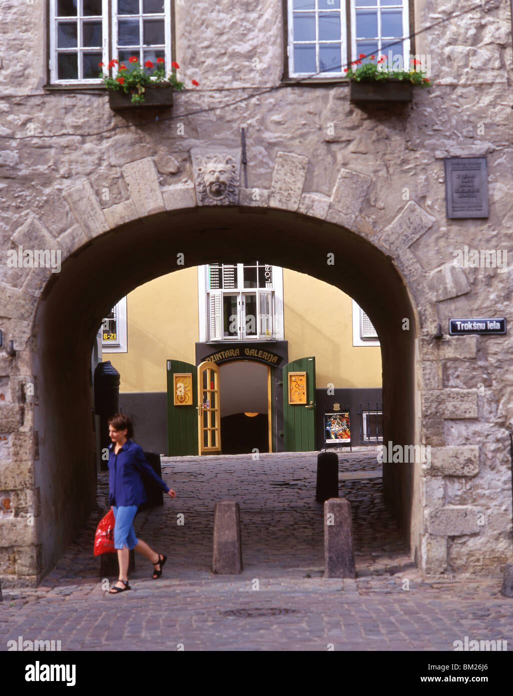 Courtyard, Old Town, Riga, Riga Region, Republic of Latvia - Stock Image