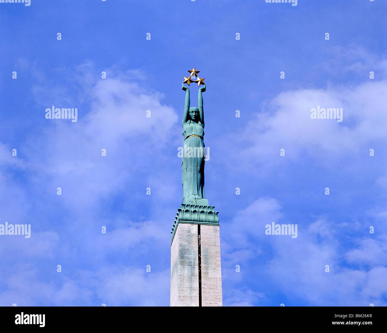 Freedom Monument, Plaza of the Freedom Monument, Riga, Riga Region, Republic of Latvia - Stock Image