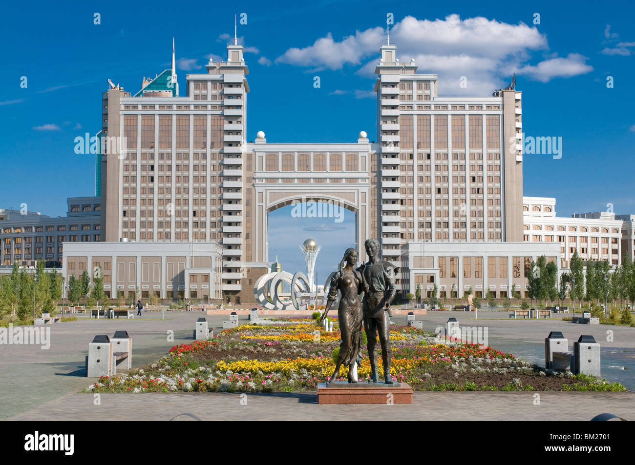 The Kay Munay Gaz building and the Bayterek monument, Astana, Kazakhstan, Central Asia - Stock Image
