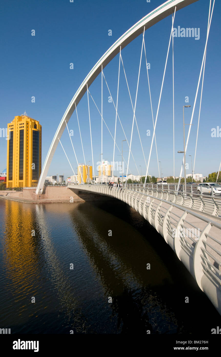 Modern bridge, Astana, Kazakhstan, Central Asia - Stock Image
