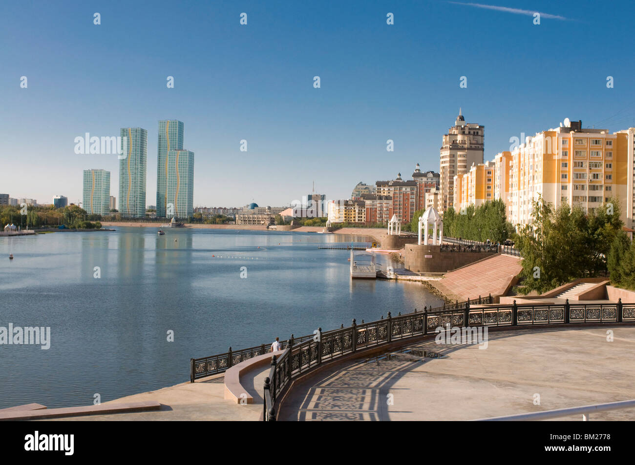 Skyline of Astana with skyscrapers, Astana, Kazakhstan, Central Asia - Stock Image