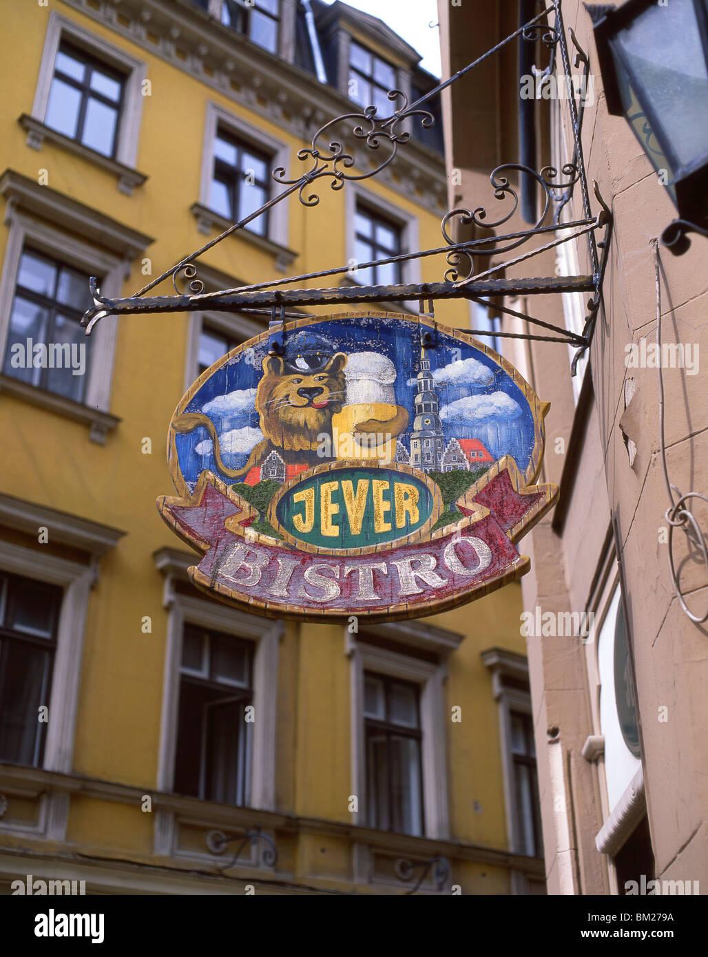 Bistro sign, Riga, Riga Region, Republic of Latvia - Stock Image