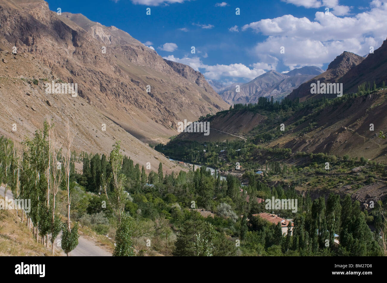 Valley with trees and bushes, Khorog, Tajikistan, Central Asia - Stock Image
