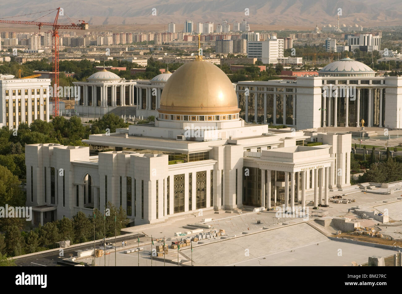 Imposing Parliament Palace with cupola, Ashgabad, Turkmenistan, Central Asia, Asia - Stock Image