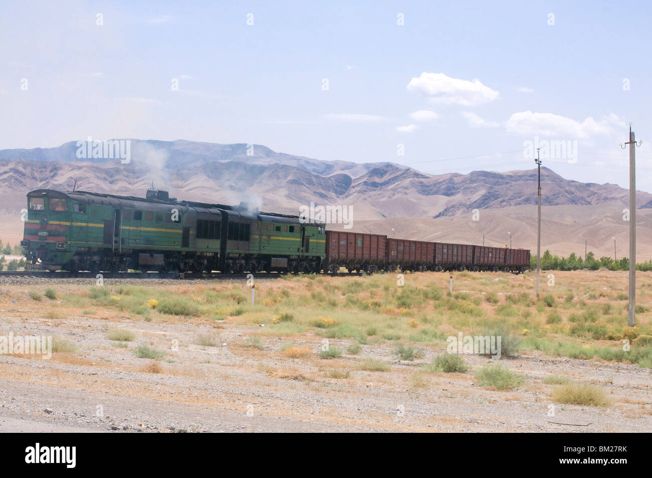 Railway crossing landscape, Geok-Depe, Turkmenistan, Central Asia, Asia - Stock Image