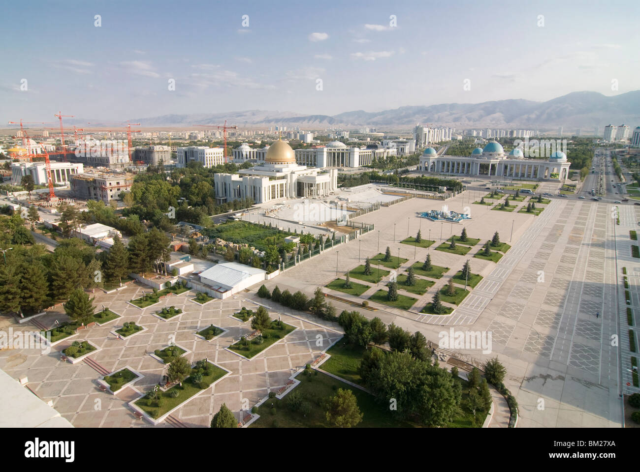 View over the government quarter and center of Ashgabad, Turkmenistan, Central Asia, Asia - Stock Image