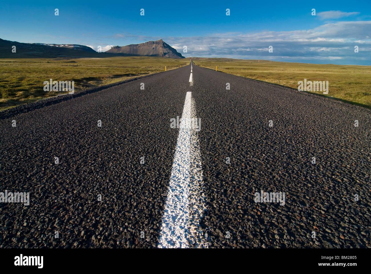 Long country road, Snaefellsjokull, Iceland, Polar Regions - Stock Image
