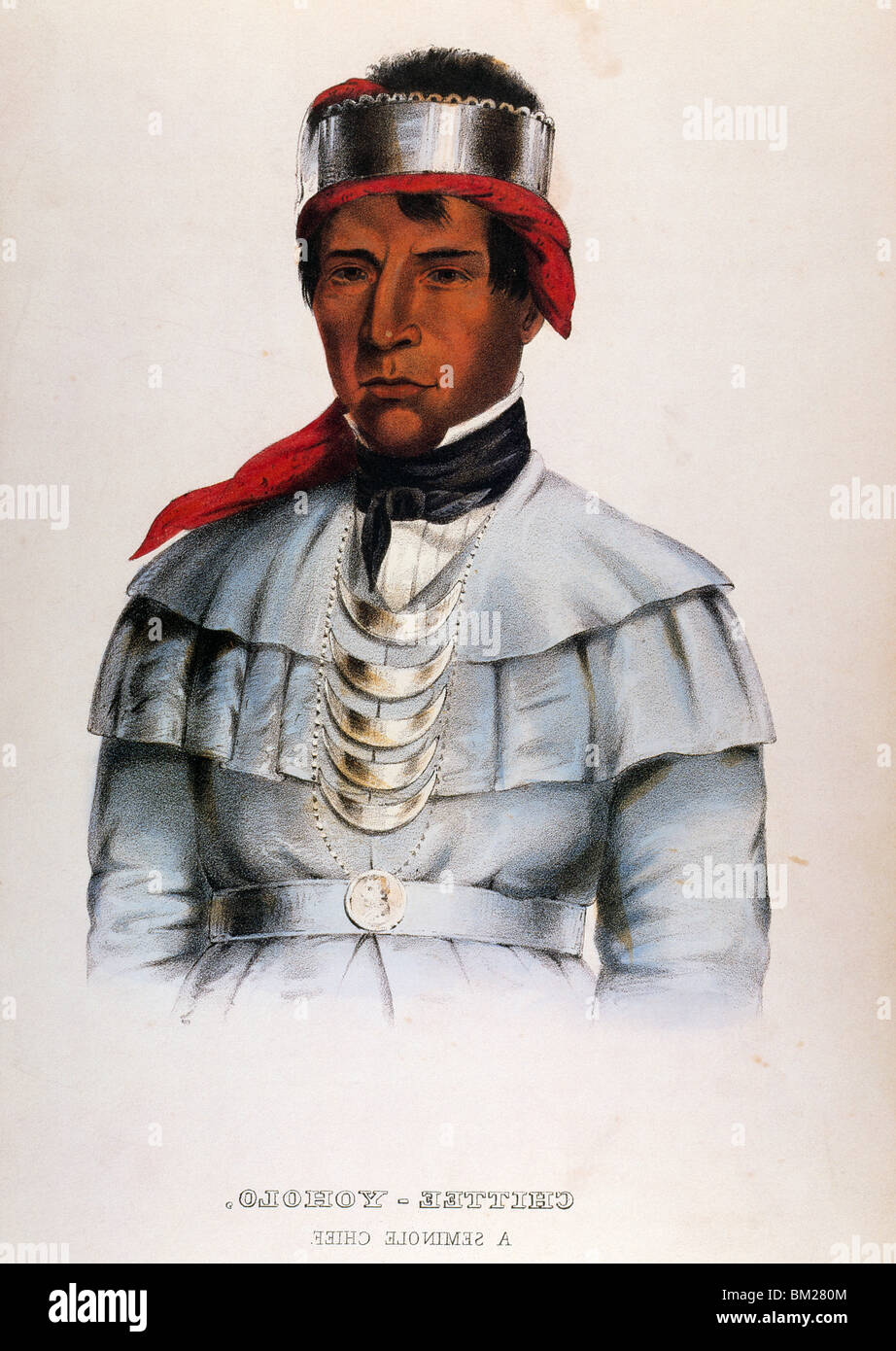 Chittee Yoholo (Seminole Chief) by Charles Bird King from Pablo Prints,  lithograph,  (1785-1862) - Stock Image