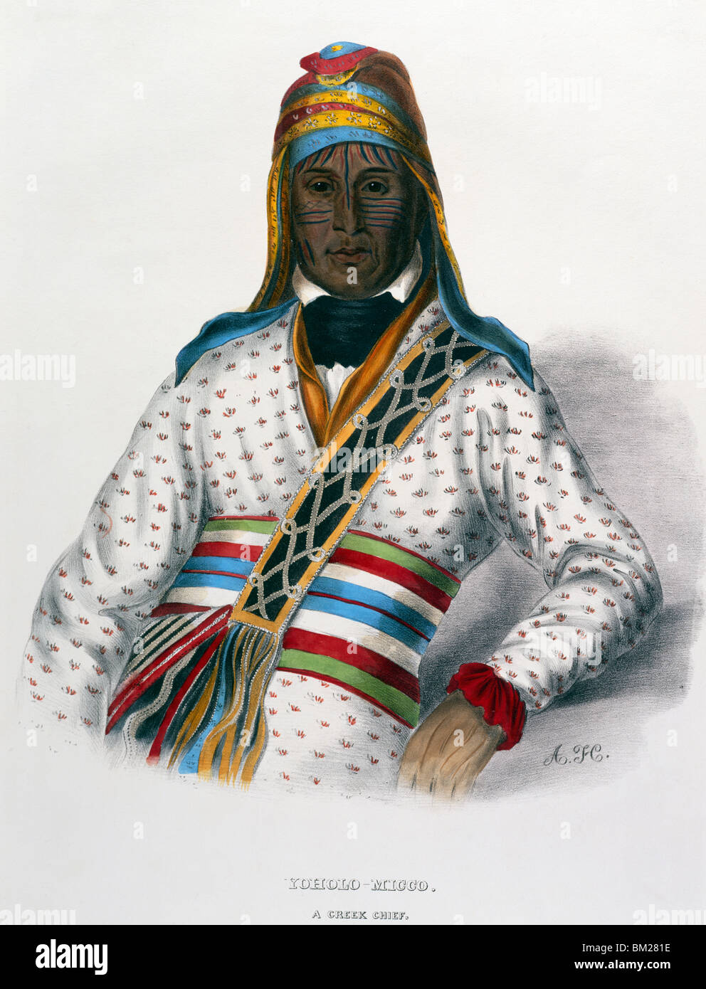 Yoholo-Micco (Creek Chief) by Charles Bird King from Pablo Prints,  lithograph,  (1785-1862) - Stock Image