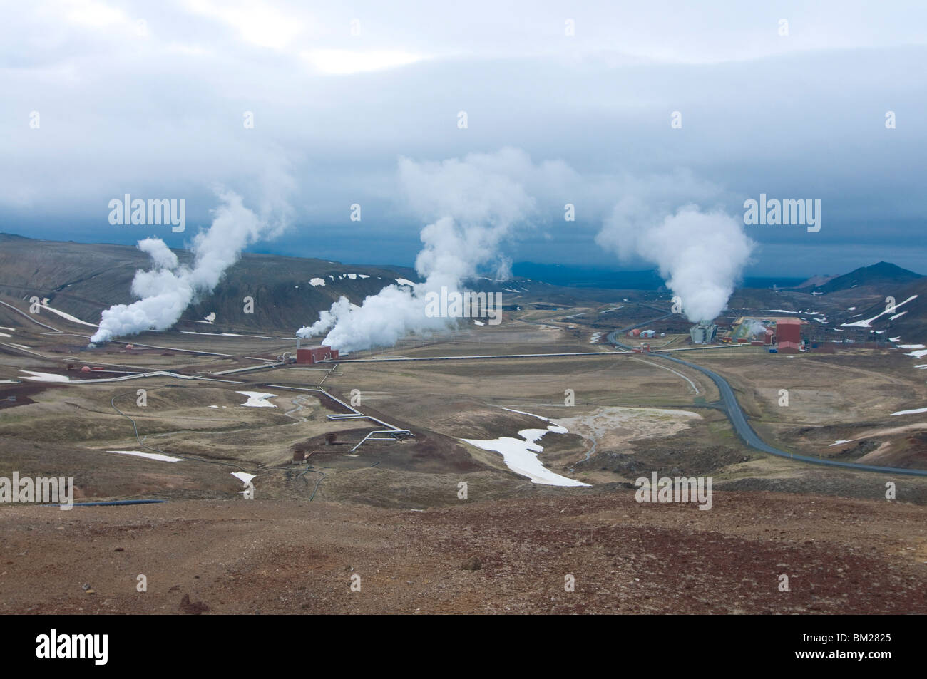 Steaming vents and geothermal power stations, Krafla, Iceland, Polar Regions - Stock Image