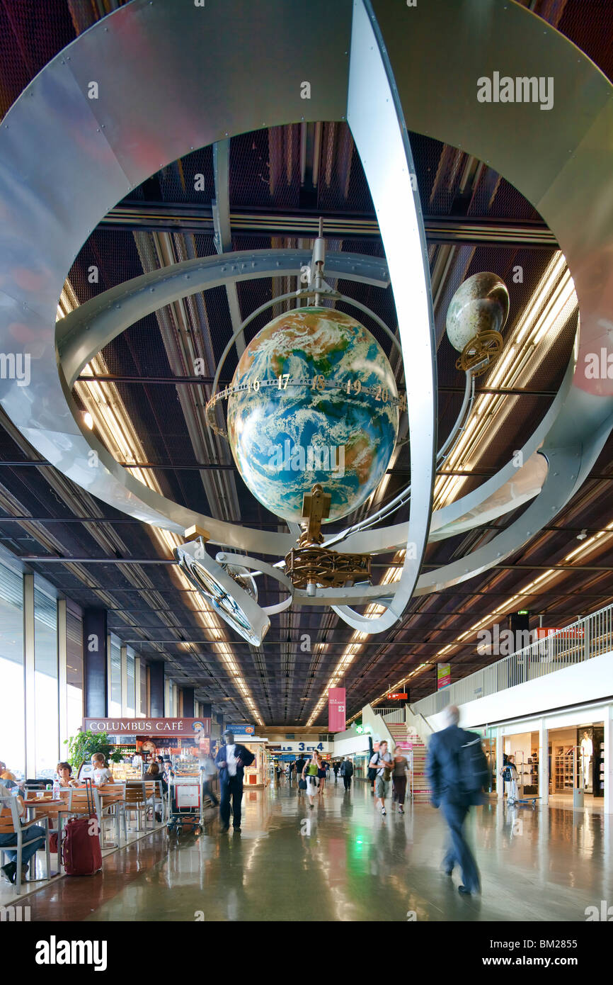 Globe with World Time, Orly Airport, Paris, France - Stock Image