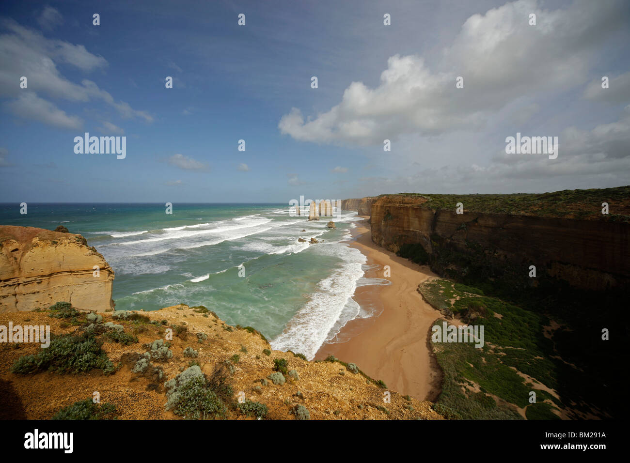 the famous coast with Twelve Apostles at the Port Campbell National Park, Great Ocean Road, Victoria, Australia - Stock Image