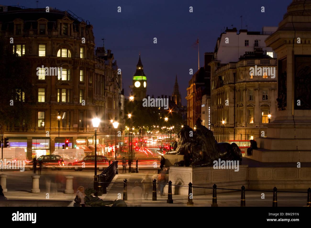 Big Ben and Whitehall from Trafalgar Square, London, UK - Stock Image