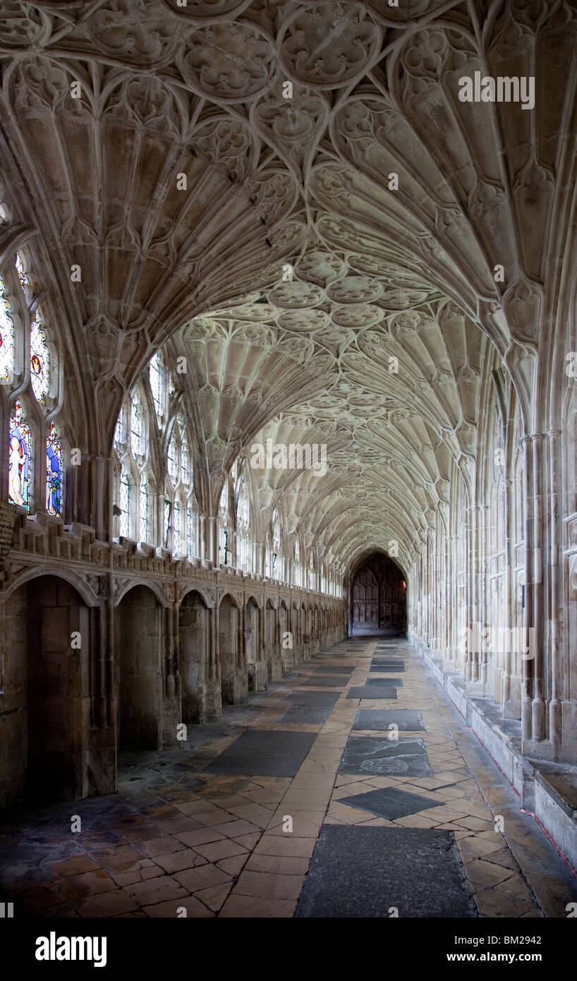 Interior of cloisters with fan vaulting, Gloucester Cathedral, Gloucester, Gloucestershire, UK - Stock Image