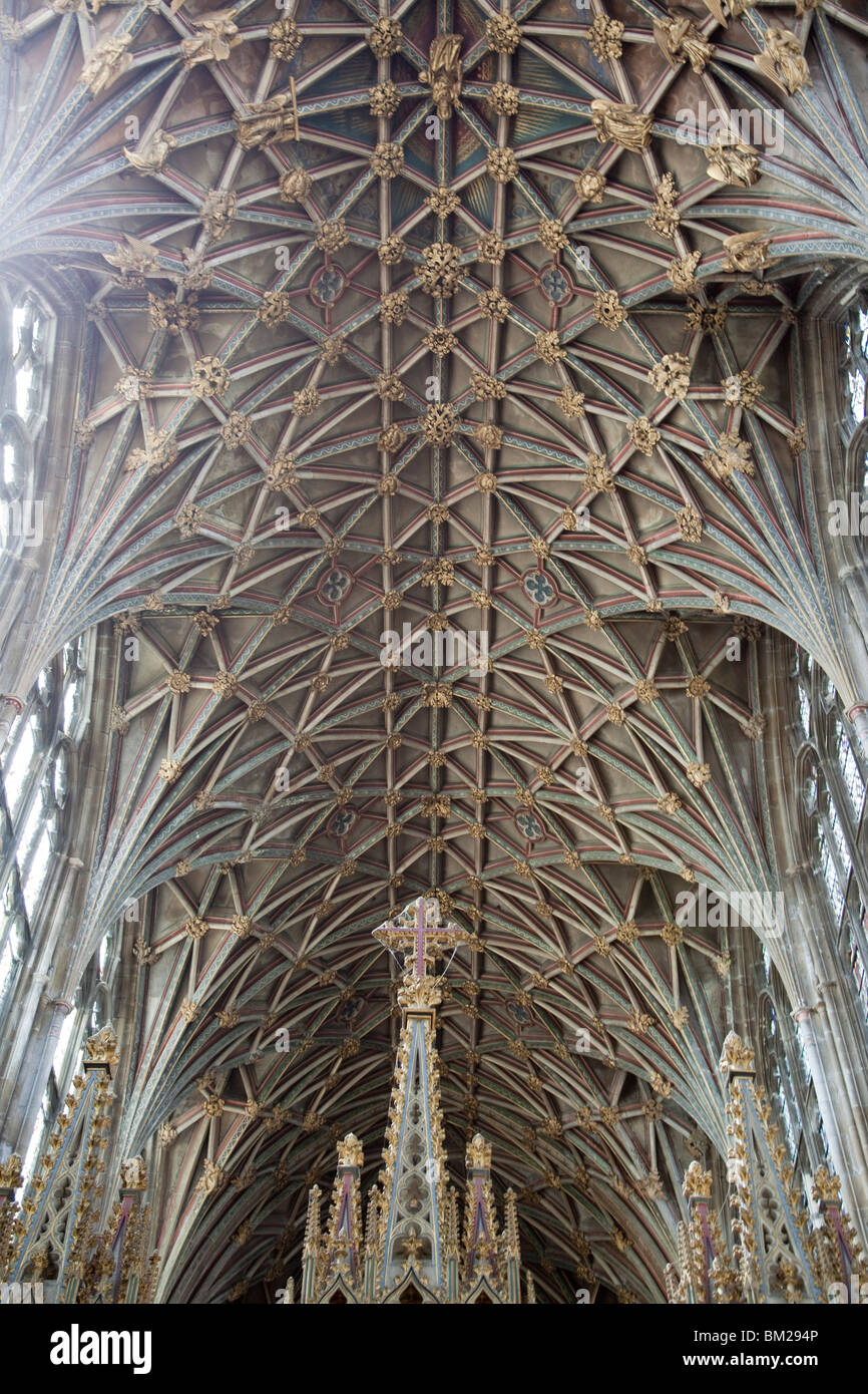 Vaulting in the roof, Gloucester Cathedral, Gloucester, Gloucestershire, UK - Stock Image