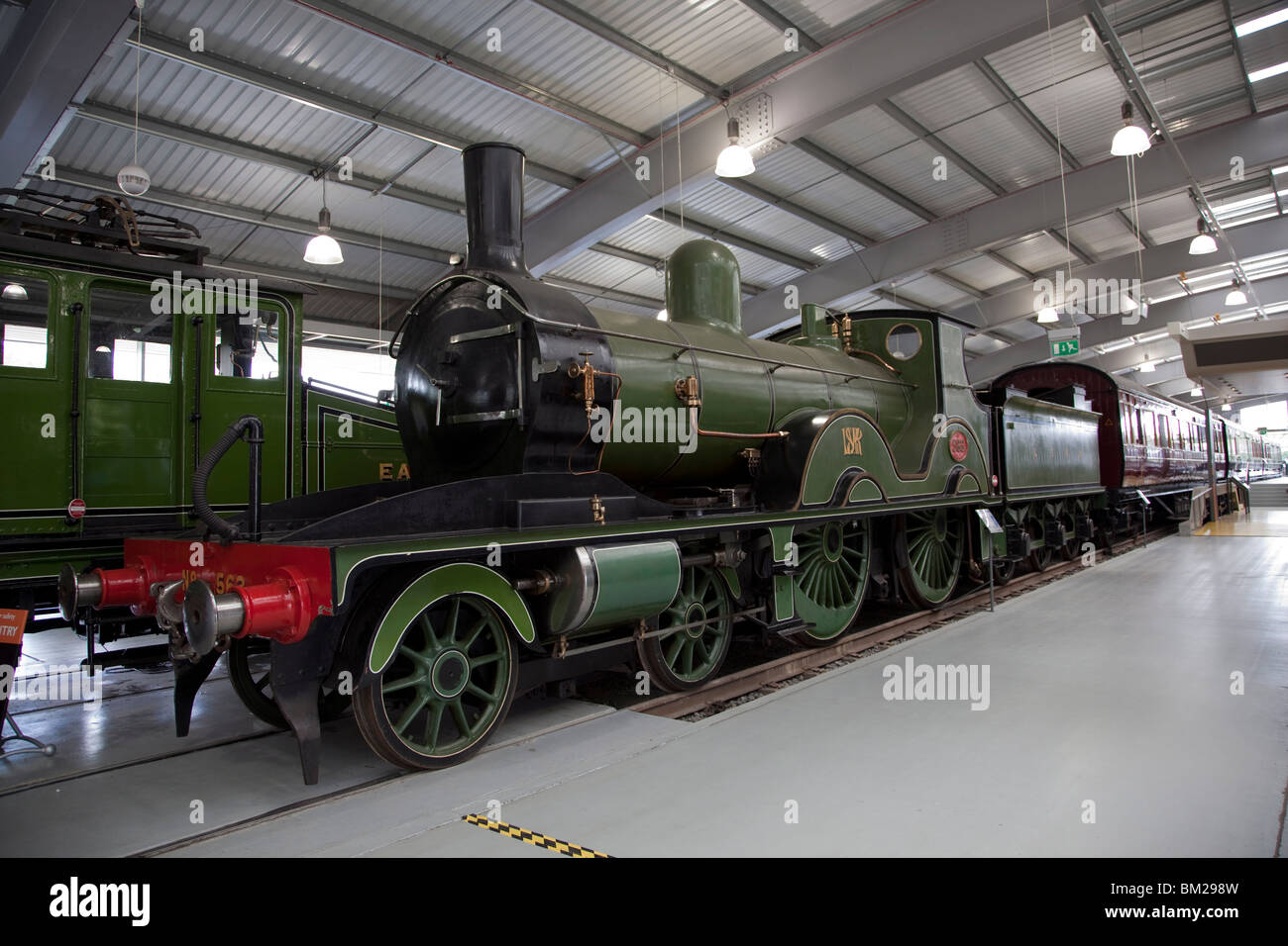 Express Passenger Engine No. 563, built 1893, at Locomotion, The National Railway Museum at Shildon, County Durham, - Stock Image