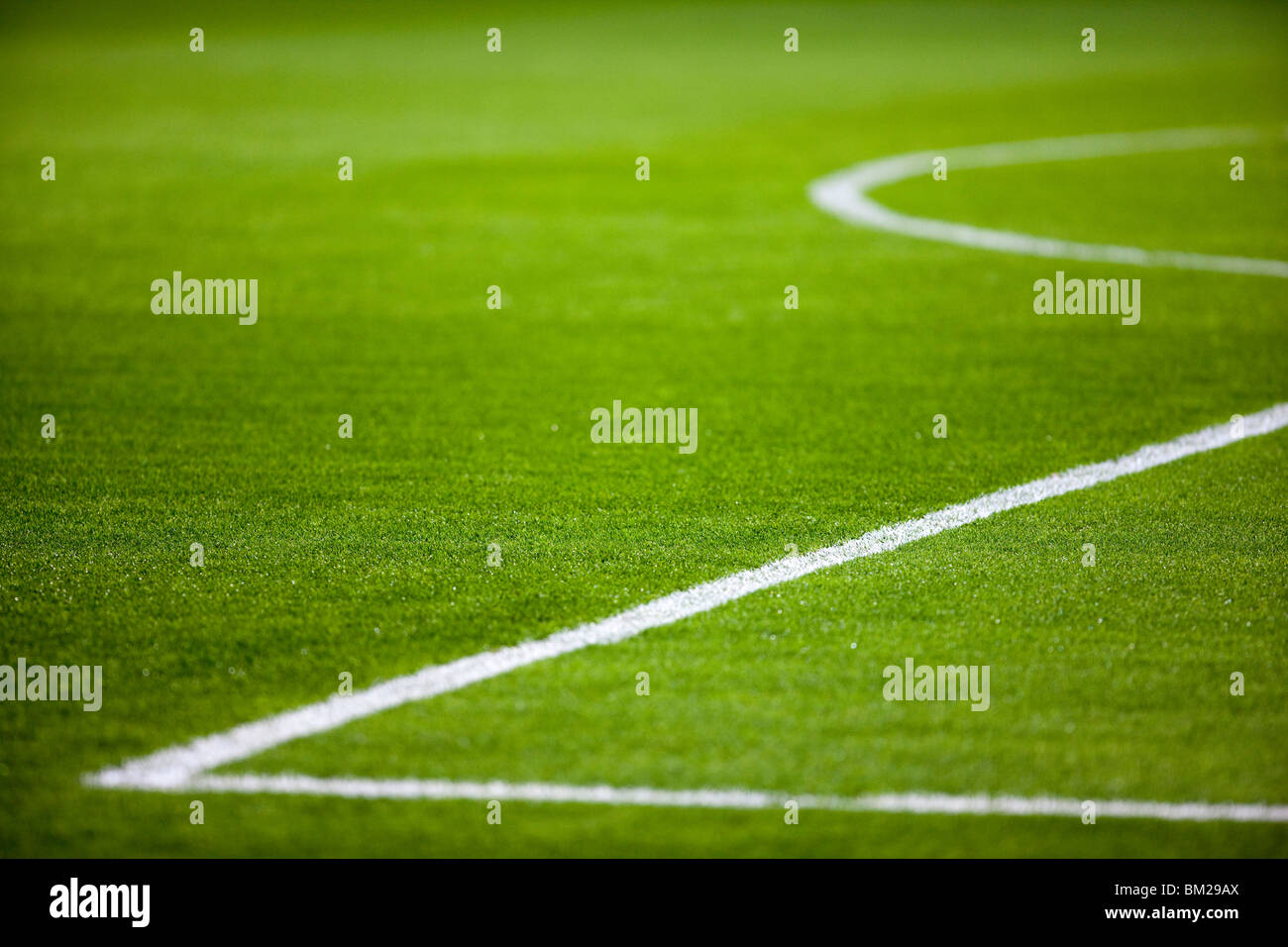 Lines of the penalty area of a football pitch, Seville, Spain - Stock Image
