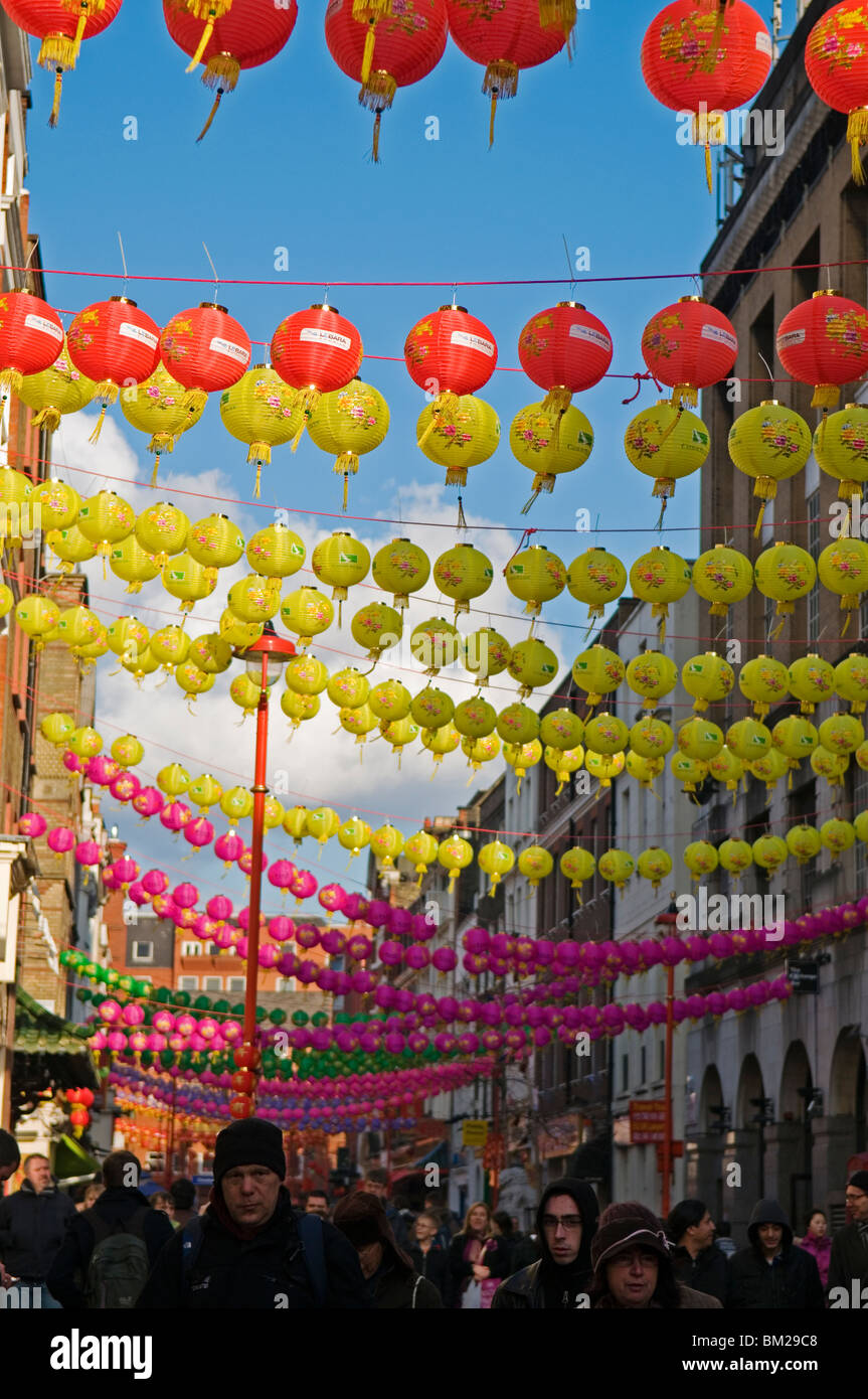 Lantern decorations for Chinese New Year Festival, China Town London England UK 2010 - Stock Image