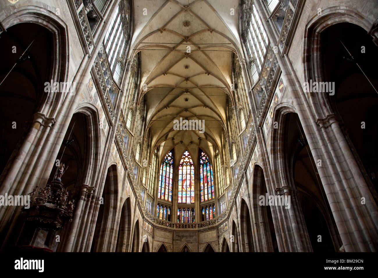 Interior of St. Vitus's Cathedral with archs and vaulting in Choir, Prague Castle, Prague, Czech Republic - Stock Image