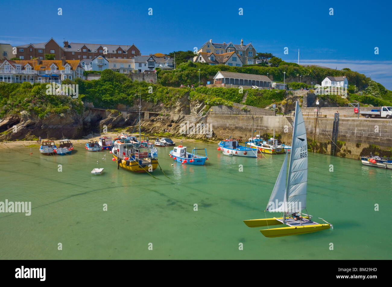 Small fishing boats and a catamaran at low tide, Newquay harbour, Newquay, Cornwall, UK - Stock Image