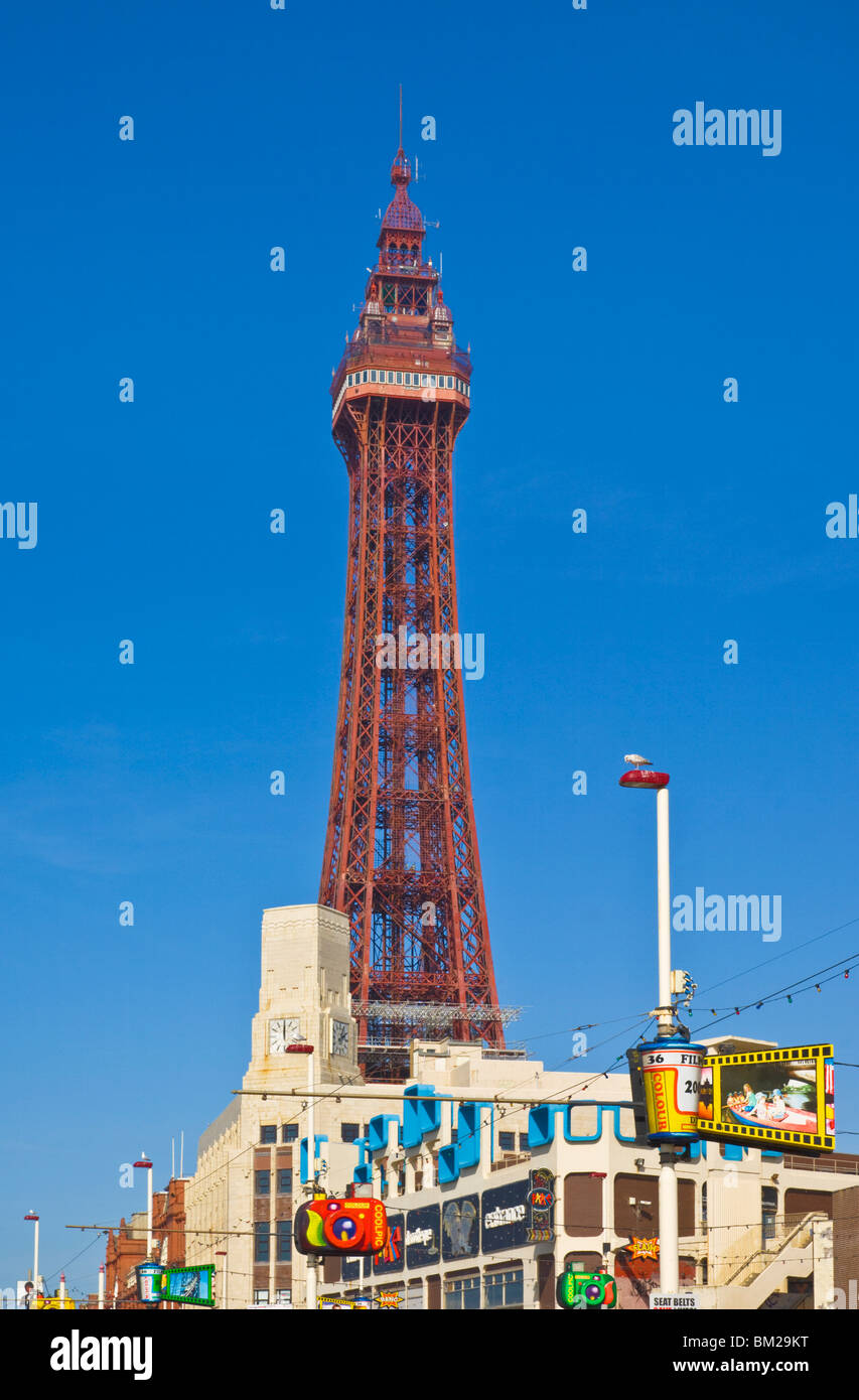 Blackpool tower and illuminations during the day, Blackpool, Lancashire, UK Stock Photo