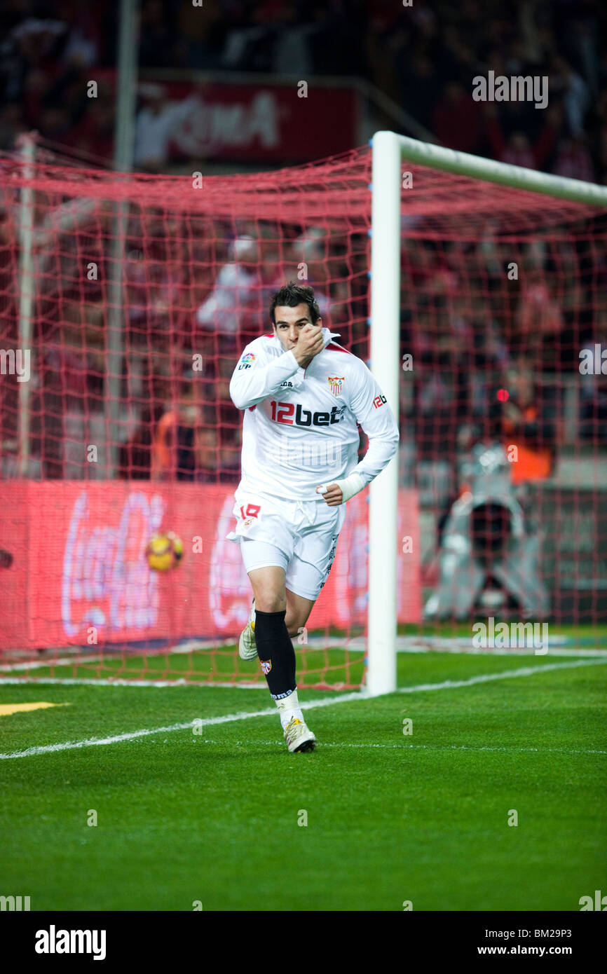 Negredo celebrates a goal. Spanish - Stock Image