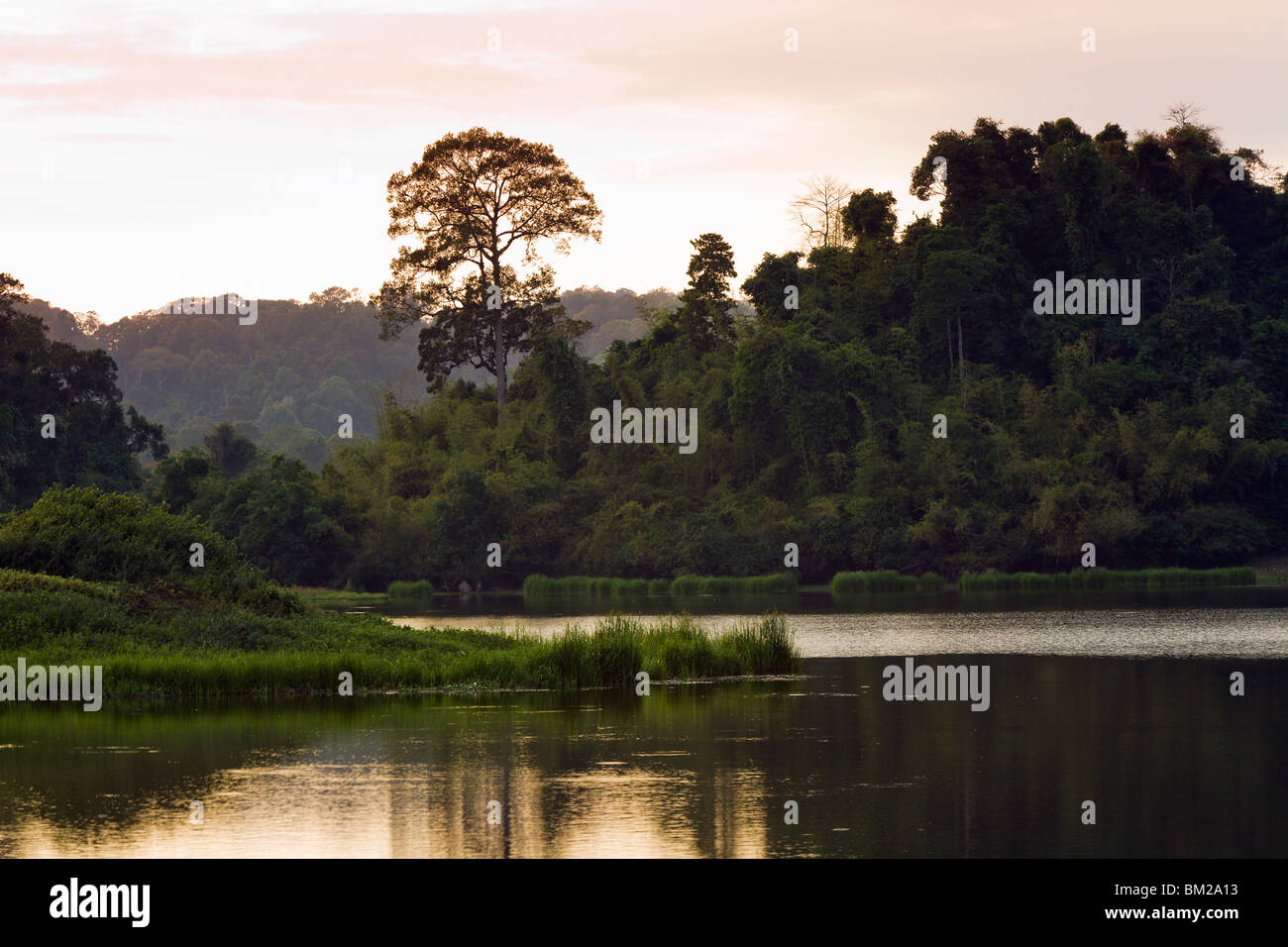 Sunset over Crocodile Lake deep inside Cat Tien National Park. - Stock Image