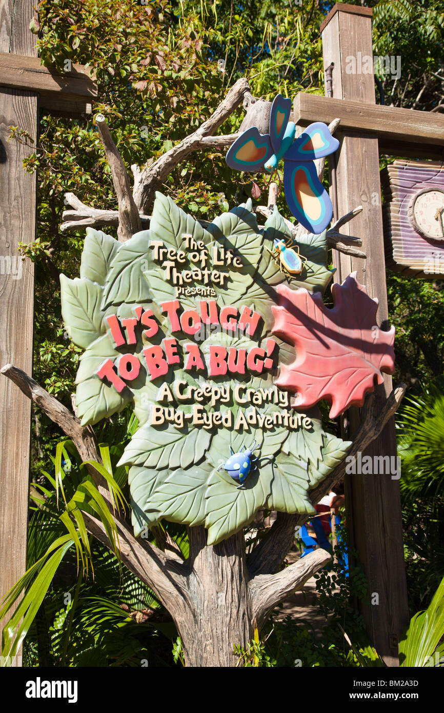 Orlando, FL - Jan 2009 - Sign outside It's Tough to be a Bug show at Disney's Animal Kingdom in Orlando - Stock Image