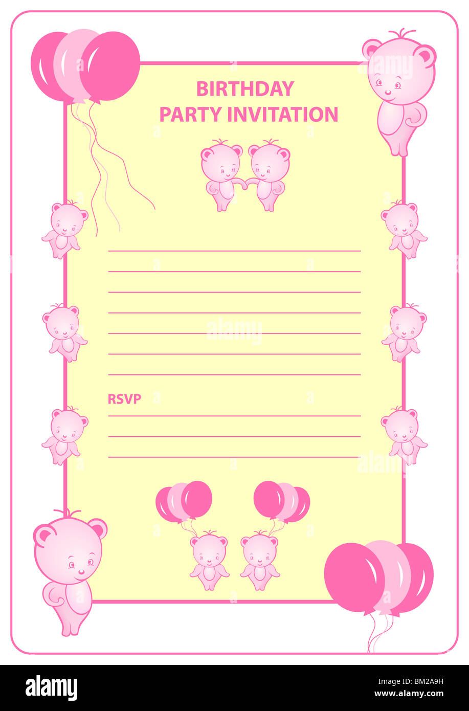 girls birthday party invitation card with pink cartoon bears and