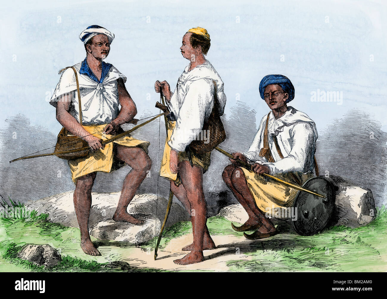 Goorkahs serving in the British military during Sepoy Mutiny, India, 1850s. Hand-colored woodcut - Stock Image