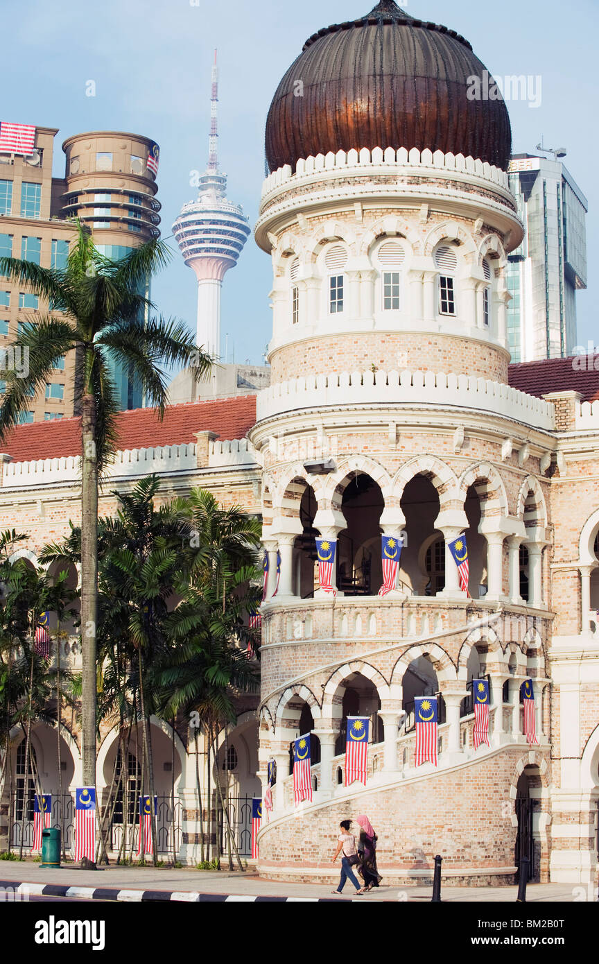 KL Tower and Sultan Abdul Samad Building, Merdeka Square, Kuala Lumpur, Malaysia, Southeast Asia - Stock Image