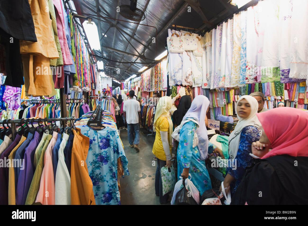 Indian silk market, Georgetown, Penang, Malaysia, Southeast Asia - Stock Image
