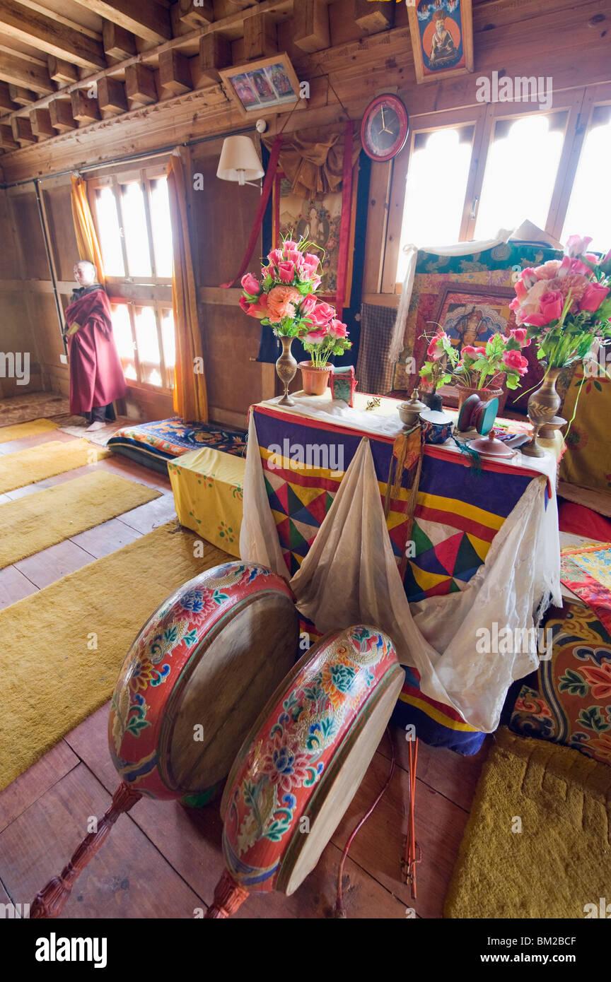 An altar in Nunnery, Jakar, Bumthang, Chokor Valley, Bhutan - Stock Image