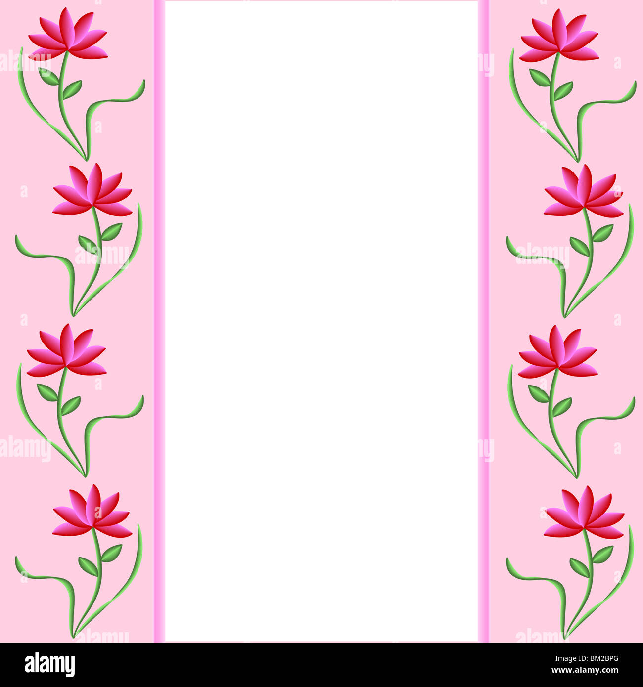Pink Borders Decorated With Pretty Pink And Red Flowers
