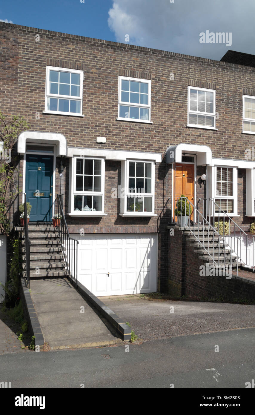 Close up of a modern terraced townhouse property on Shaftesbury Way, Twickenham, Middx, UK. May 2010 Stock Photo